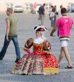 穿戴作为18个世纪夫人,圣彼德堡 图库摄影