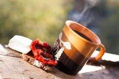 穿戴女孩褂子早晨白色的咖啡杯 库存照片