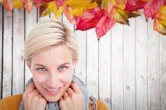 穿围巾的微笑的妇女的综合图象 免版税库存照片