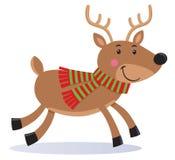 穿围巾的逗人喜爱的驯鹿 免版税库存图片
