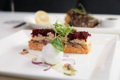 穿戴的鲱鱼开胃菜,俄国烹调盘 库存图片