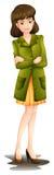 穿绿色燃烧物的一个少妇 免版税库存图片