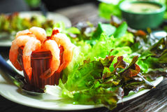 穿戴超大莴苣点燃沙拉虾尾标蕃茄 免版税图库摄影
