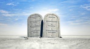 突出在沙漠的十个指令 免版税库存图片