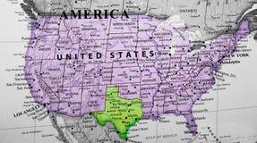 突出得克萨斯的美利坚合众国的地图 库存照片