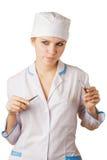 突出背景的护士空白 免版税库存图片