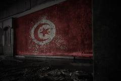突尼斯的被绘的旗子在肮脏的老墙壁上的在一个被放弃的被破坏的房子里 免版税库存照片