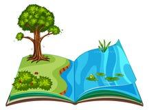 突然出现与室外自然场面的书 库存例证