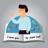 突然出现愉快的父亲节卡片  库存照片