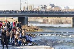 突然显现仪式在普罗夫迪夫,保加利亚 免版税图库摄影