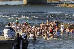 突然显现仪式在普罗夫迪夫,保加利亚 免版税库存图片