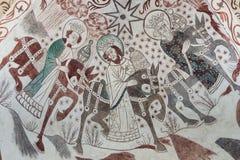 突然显现 圣诞节福音书的哥特式壁画 库存照片