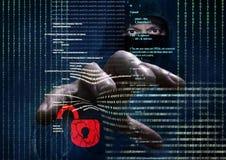 窃取数据-概念的危险黑客 免版税库存照片
