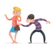 窃取从不幸的女性女孩字符被隔绝的象动画片设计模板传染媒介的面具犯罪男性窃贼钱包 皇族释放例证