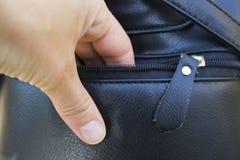窃取从提包的人钱包 库存照片