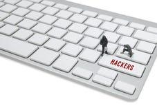 窃贼人微型形象概念窃取关于键盘的数据 库存图片