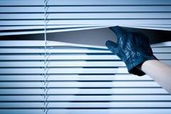 窃贼开窗口窗帘 免版税库存图片