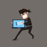 窃贼 窃取敏感数据的黑客作为从一个人计算机有用的密码反phishing和互联网病毒的竞选 库存例证