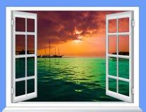 窗口云彩太阳 库存照片