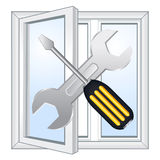窗口修理车间 免版税库存图片