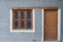 窗口和门在家在Nubra谷, Leh 库存照片