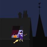 窗口基石的年轻巫婆,传染媒介 免版税库存图片