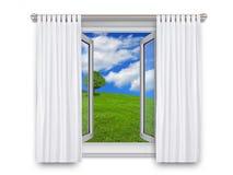窗口开放对乡下 免版税库存照片