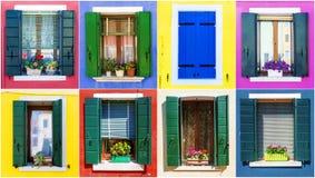 窗口拼贴画从Burano海岛的  威尼斯 免版税图库摄影