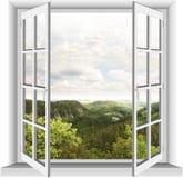 窗口有山景 免版税库存照片