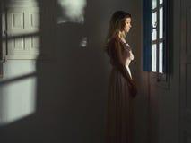 窗口的公主 免版税库存照片