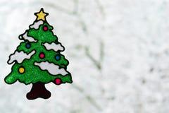 窗口的圣诞树贴纸 库存照片