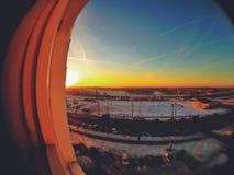 从窗口的日落 库存图片