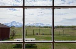 从窗口的看法到阿拉斯加的山 库存照片