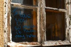 窗口的老打破的难看的东西零件 库存照片