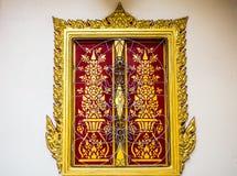 窗口艺术在泰国寺庙的 免版税库存图片