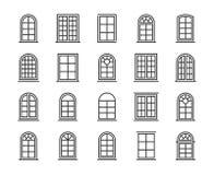 窗口象 窗口线象集合 编辑可能的冲程,64x64完善的映象点 库存照片
