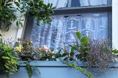 窗口通过海看与鞋带船舶curtians的一个窗口在有窗槛花箱大农场主的木房子里与花 免版税库存图片