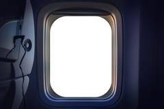 窗口飞机,空白的白色窗口飞机,窗口航空器模板 图库摄影