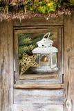 窗口,圣诞节构成窗口外 库存照片