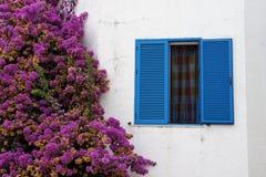 窗口,在白色墙壁背景的桃红色花 库存图片