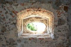 窗口 中世纪宫殿的幻想重建在村庄Racos,特兰西瓦尼亚 库存图片