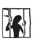 一名妇女的剪影在窗口里 免版税图库摄影