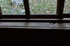 窗台和窗口在一间老客舱在阿巴拉契亚山脉 免版税库存图片