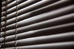 窗帘在捉住阳光,金属快门窗口后面的家 免版税库存图片