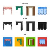 窗帘的不同的类型 帷幕设置了在动画片,黑色,平的样式传染媒介标志股票的汇集象 库存图片