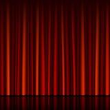 窗帘红色无缝的阶段 库存照片