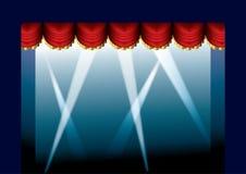 窗帘被开张的阶段 免版税库存图片