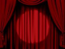 窗帘被阐明的红色 免版税库存照片