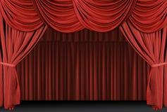 窗帘装饰了红色阶段 库存图片