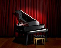 窗帘钢琴红色聚光灯 免版税库存照片
